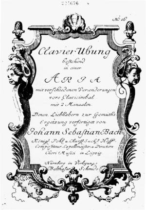 Title page of the Goldberg Variations (first edition)