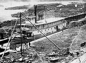 Alice (sternwheeler) - ''Gov. Grover'', rival sternwheeler to Alice, shown in the then newly completed Willamette Locks, March 1873.