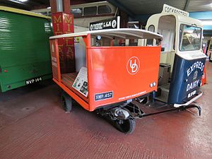 Graiseley Electric Vehicles - A Graiseley Model 90 pedestrian controlled vehicle with a milk float body dating from 1951/52. It is preserved at The Transport Museum, Wythall.