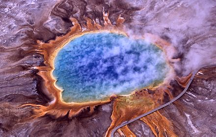 Archaea were found in volcanic hot springs. Pictured here is Grand Prismatic Spring of Yellowstone National Park. Grand prismatic spring.jpg