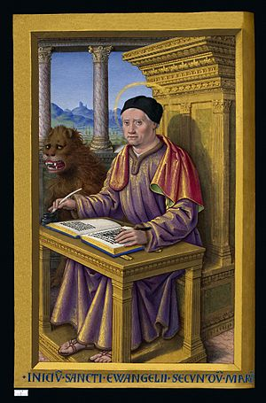 Mark the Evangelist - Miniature of Saint Mark from the Grandes Heures of Anne of Brittany (1503–8) by Jean Bourdichon