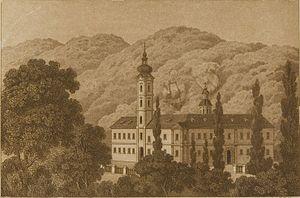 Bešenovo monastery - Engraving of Bešenovo monastery, Serbia, 1861.