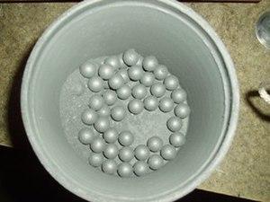 Ball mill - Lead antimony grinding media with aluminium powder.