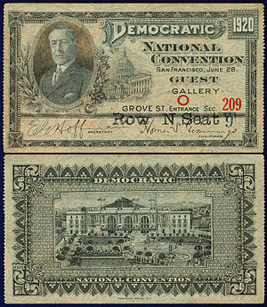 United States presidential election, 1920 - A ticket purchased by a guest of the Democratic National Convention in San Francisco.