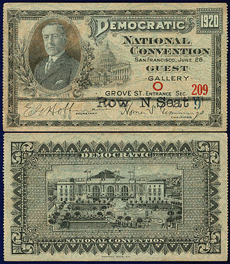 1920 United States presidential election - A ticket purchased by a guest of the Democratic National Convention in San Francisco.