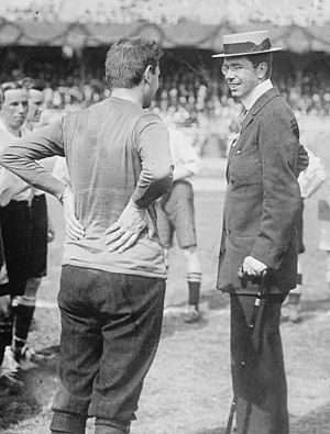 Gustaf VI Adolf of Sweden - Crown Prince Gustaf Adolf meets some English footballers (c. 1910–1915).