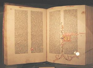 Facing pages of a gutenberg bible. Taken by me.