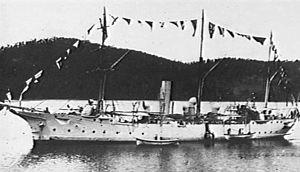 Cadmus-class sloop - Clio dressed overall at Tasmania in 1905