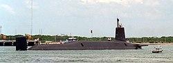 HMS Vanguard of the current  Vanguard class ballistic missile submarines.