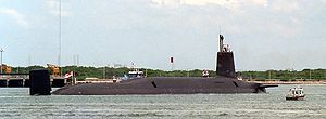 Trident nuclear programme - A starboard-quarter view of HMS Vanguard arriving in Port Canaveral, Florida.