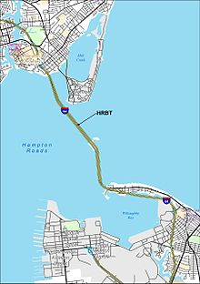 Map Of The Hampton Roads Bridge Tunnel And Vicinity