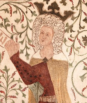 Helvig of Schleswig - Queen Helvig shown on a contemporary fresco in St. Peter's Church, Næstved (Sankt Peders Kirke).