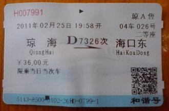 Hainan eastern ring high-speed railway - Ticket