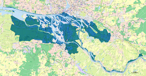 North Sea flood of 1962 - Map of flooded areas of Hamburg 1962