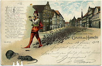 "Pied Piper of Hamelin - Postcard ""Gruss aus Hameln"" featuring the Pied Piper of Hamelin, 1902"