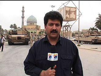 Hamid Mir - Hamir Mir reporting from Baghdad, Iraq, in 2010.