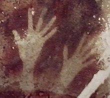 Пещера Петтакере, район Бантимурунг (кечаматан), Южный Сулавеси, Индонезия.  Трафареты для рук возрастом от 0 000 лет [33]