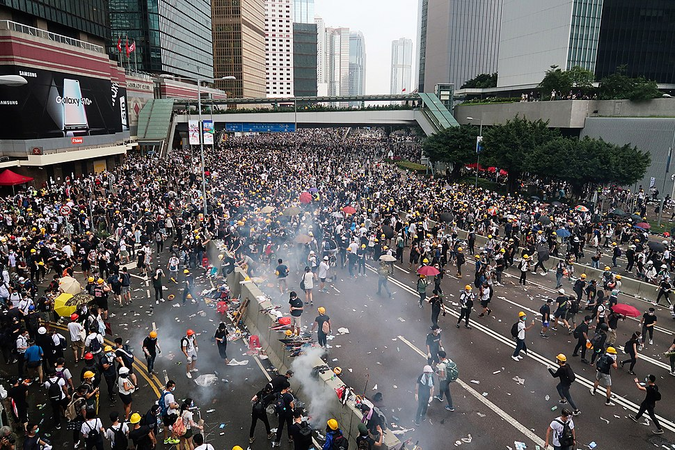 Harcourt Road tear gas view 20190612