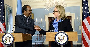 Somalia–United States relations - President of Somalia Hassan Sheikh Mohamud with U.S. Secretary of State Hillary Clinton at the State Department (January 2013).