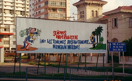 Propaganda sign in front of the United States Interests Section in Havana Havana11.JPG