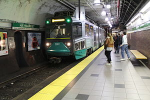 Green Line (MBTA) - Haymarket, a typical station on the Green Line subway