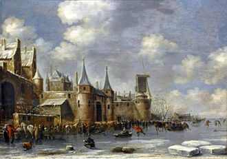 Thomas Heeremans - Winter landscape with ice-skaters outside a city wall, National Museum, Warsaw