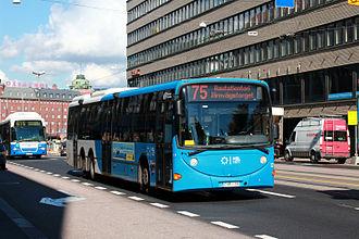 Helsinki Regional Transport Authority - An HSL bus in Hakaniemi, Helsinki.