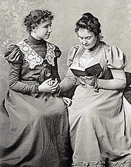 March 3: Helen Keller and Sullivan. Helenkellerannesullivan1898.jpg
