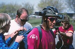 English: Mark Schulze modified his helmet cam ...