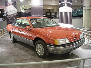Ford Taurus (first generation) - The 1986 Taurus LX used by Motor Trend for their 1986 Car of the Year testing on display at the Henry Ford Museum's Showroom of Automotive History exhibit