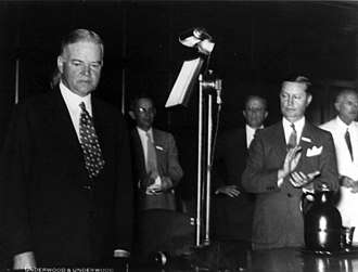 Roy D. Chapin - Secretary of Commerce Roy D. Chapin applauds President Herbert Hoover at the Nine-Point Prosperity Conference (August 26, 1932).