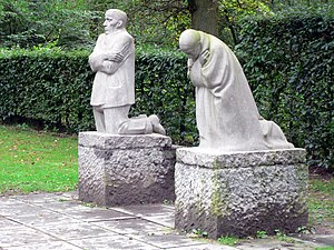 Käthe Kollwitz - The Grieving Parents, a memorial to Kollwitz's son Peter, in Vladslo German war cemetery, Belgium.