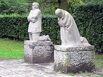 Käthe Kollwitz - The Grieving Parents, a memorial to Kollwitz's son Peter, in Vladslo German war cemetery, Belgium