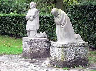 Käthe Kollwitz - The Grieving Parents, a memorial to Kollwitz's son Peter, in Vladslo German war cemetery, Belgium.