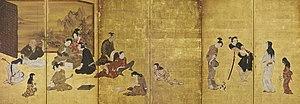 Iwasa Matabei - Image: Hikone Screen
