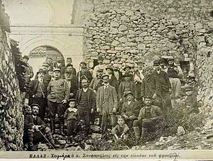 Himara revolt of 1912 - Spyromilios and local Himariotes in front of the castle of Himara