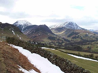 Newlands Valley - The fells of Hindscarth (left) and Robinson (right) at the head of the Newlands valley.
