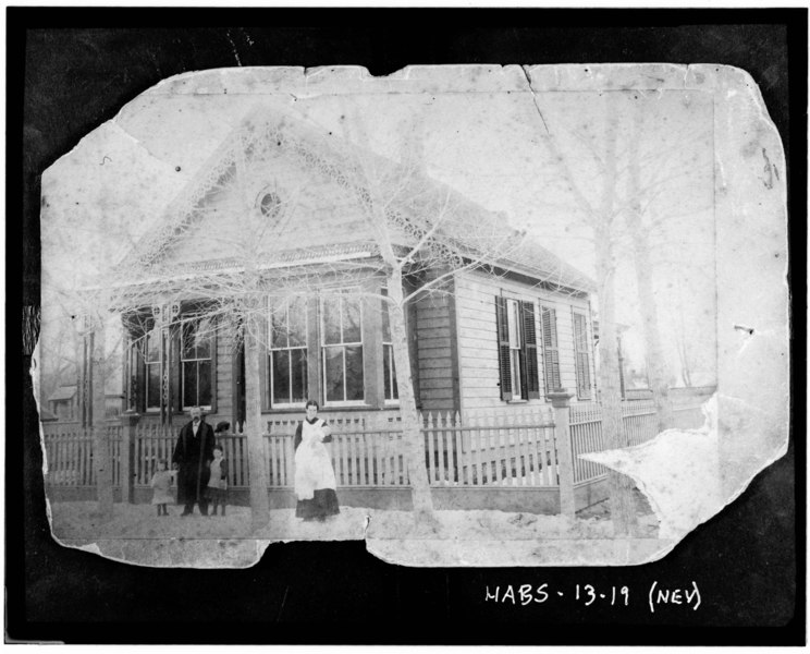 File:Historic American Buildings Survey Photocopy, c. 1885 FACADE AND WEST SIDE (Original in Nevada State Museum) - David Smaill House, 313 West Ann Street, Carson City, Carson City, HABS NEV,13-CARCI,18-1.tif