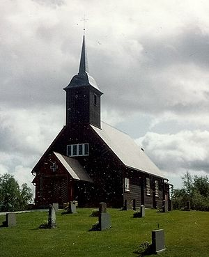 Hitterdalen - View of the chapel in the village
