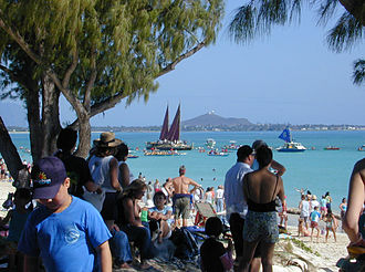Hawaiian Renaissance - Hokulea and outrigger canoes at Kailua, 2005