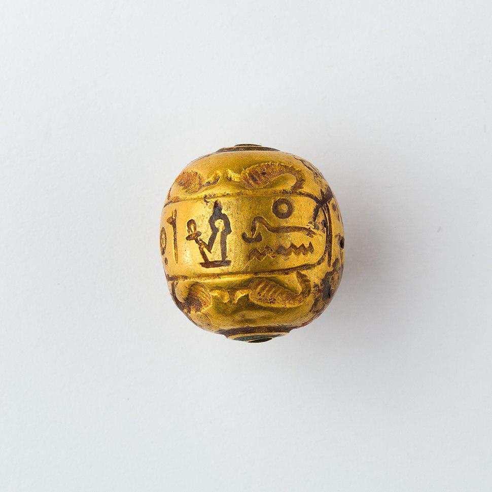 Hollow spherical bead with the Names of Ramesses II and Queen Isetnefret MET 1970.54 EGDP013709
