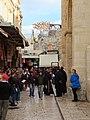 Holy Land 2018 (2) P001 Via Dolorosa Symbolic Ninth Station Franciscan procession.jpg