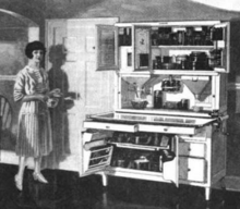 Old drawing of woman and her kitchen cabinet