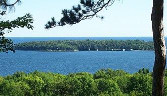 Horseshoe Island (Wisconsin) - Horseshoe Island from mainland in Peninsula State Park.