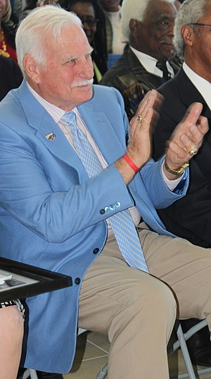 Florida Atlantic Owls football - Coach Schnellenberger (blue jacket)