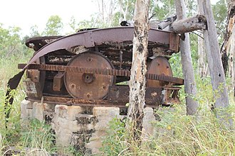 Wenlock Goldfield - Remains of the Huntington mill installed at Wenlock in 1939