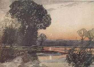 """A Shropshire Lad - """"On the Teme"""", one of William Hyde's coloured illustrations for A Shropshire Lad (1908)"""