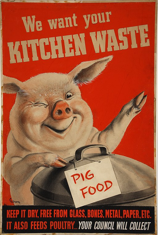 INF3-224 Salvage We want your kitchen waste (pig with dustbin) Artist Gilroy