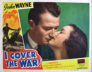 Gwen Gaze - Lobby card from I Cover the War (1937) with John Wayne and Gwen Gaze