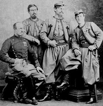 Papal States - Papal Zouaves pose in 1869.